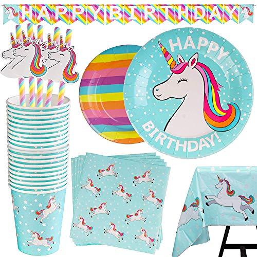 102 Piezas–Vajilla Diseño de Arcoiris y Unicornio Desechable–Accesorio de Decoración de Fiesta de Cumpleaños-Utensilios para Celebración–Pancarta,Platos,Vasos,Servilletas,Pajitas y Mantel Resistente
