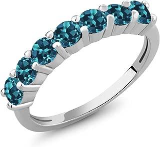 Gem Stone King 925 Sterling Silver Round London Blue Topaz 7-Stone Anniversary Wedding Band Women's Anniversary Ring 1.40 Ctw Gemstone Birthstone (Available 5,6,7,8,9)