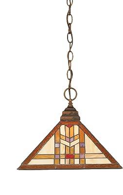 Toltec Lighting 12-BRZ-983 One-Light Chain Pendant Bronze with Navajo Tiffany Glass, 14-Inch