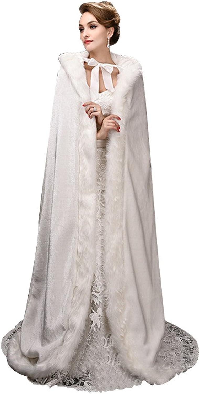LiCheng Bridal Women Long White Faux Fur Bolero Cape Bridal Cloak Stole Coat