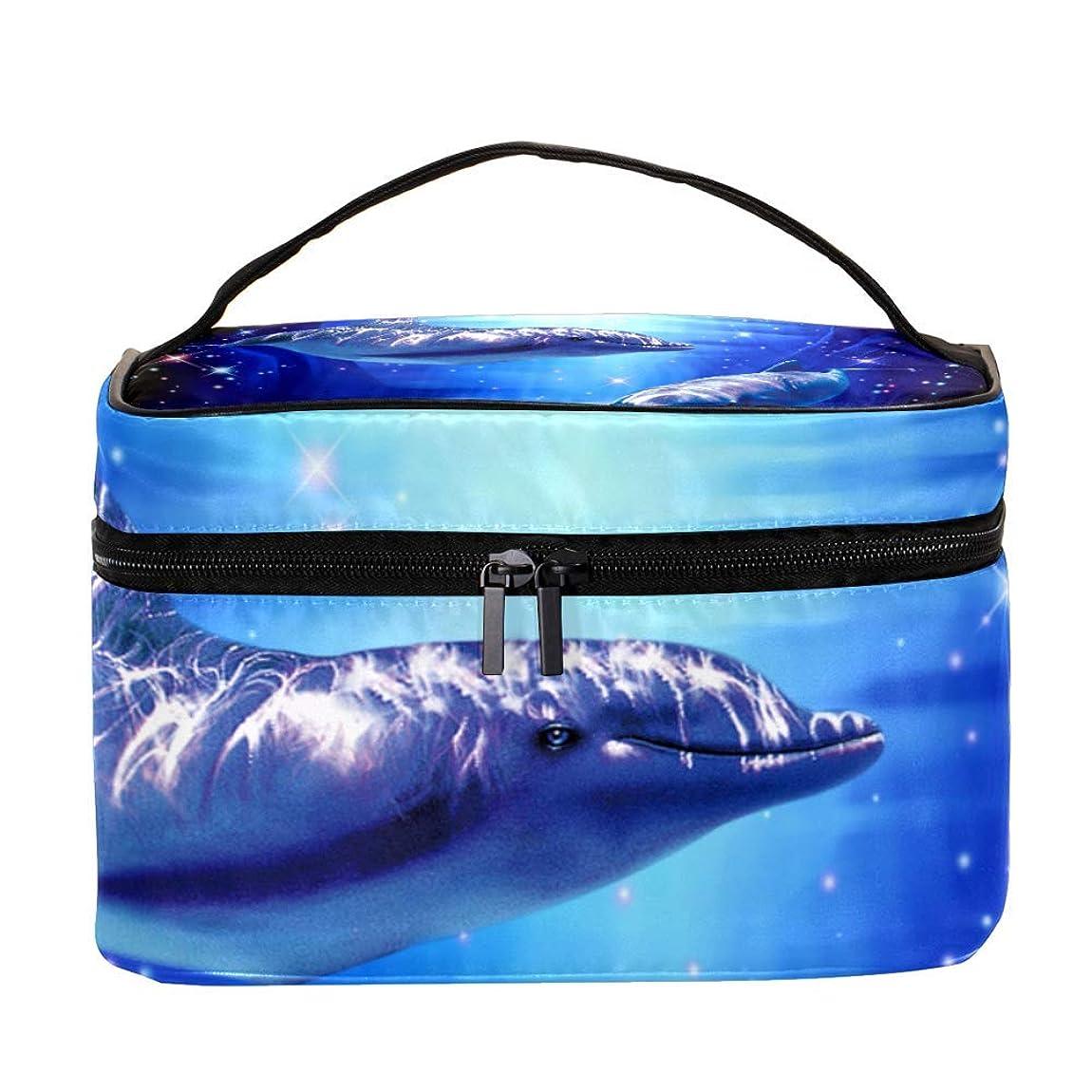 サスティーン害きつくAyuStyle バニティポーチ トラベルバッグ イルカ 海豚 化粧ポーチ メイクポーチ コスメバッグ 化粧道具 大容量 機能的 小物入れ おしゃれ かわいい 収納ケース