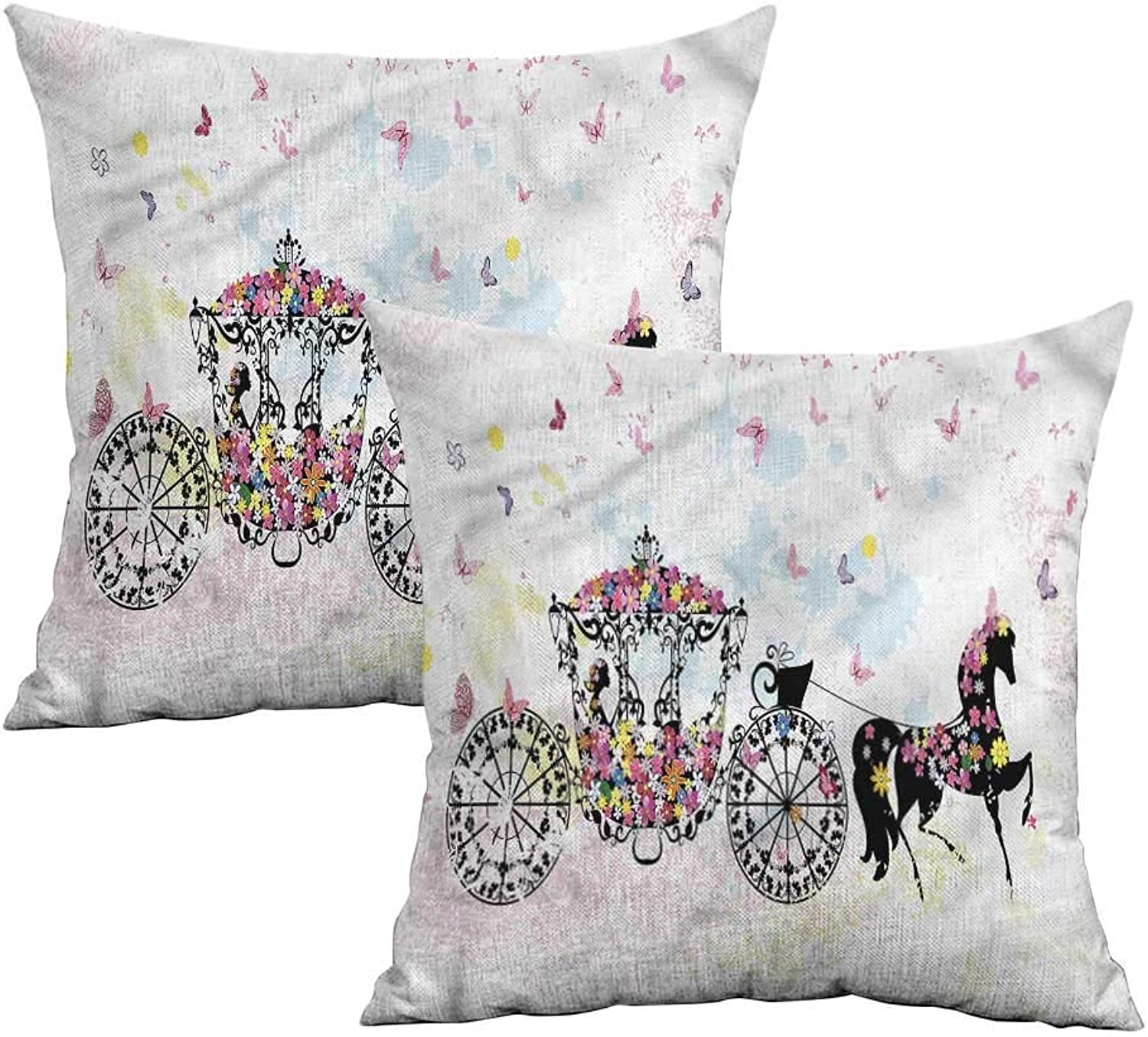 Khaki home Kids Square Pillowcase Predector Floral Carriage with Horse Square Body Pillowcase Cushion Cases Pillowcases for Sofa Bedroom Car W 20  x L 20  2 pcs