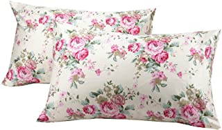 YIH 2 Pack Floral Pillow Cases Standard Size, Soft Cotton Fabric Fade Resistant Pillow Covers, 20x30 inches