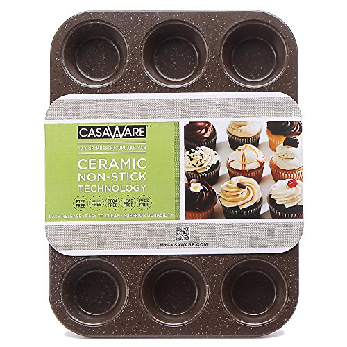 casaWare Ceramic Coated NonStick 12 Cup Muffin Pan (Brown Granite)