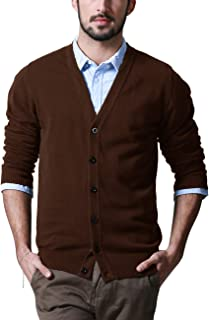 Matchstick Men's Button Through V Neck Knitted Cardigan #Z1522(Brown,UK S (Asian tag Size L))
