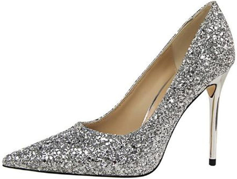 Super frist Womens Pointed Toe High Heel Pumps Slip-On Sequins Pumps Wedding Party Pumps shoes