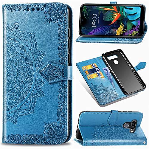 Funda para LG K50, LG Q60 Carcasa Libro con Tapa Flip Case Antigolpes Golpes Cartera PU Cuero Suave Soporte con Correa Cordel - Mandala Azul