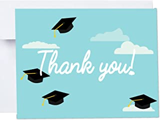 Hats Off Graduate Thank You Cards with Envelopes 10 Pack A2 Folded 4x5.25 in Blue Graduation Hats Class of 2018 Stationary