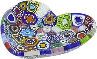 GlassOfVenice Murano Millefiori Heart Plate - Multicolor