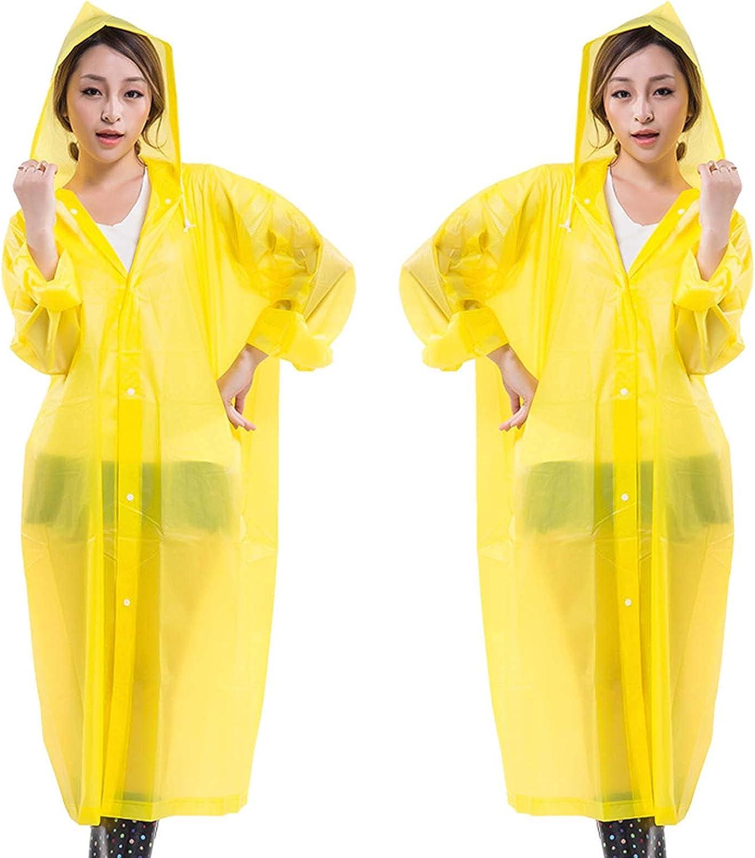 FHGH 2PCS Adult Long Raincoat, Reusable EVA Hooded Rain Poncho, Portable Non-Disposable Rain Jacket, for Travel/Survival/Fun,E,Wide Sleeves