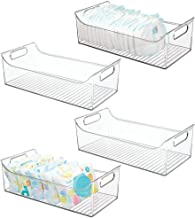 mDesign Wide Storage Organizer Container Bin with Handles for Kids/Child Supplies in Kitchen, Pantry, Nursery, Bedroom, Pl...