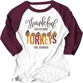 TAKEYAL Thankful Little Turkey Shirt Women Letter Print Thanksgiving Novelty Graphic Funny 3/4 Sleeve Blouse