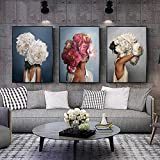 CNHNWJ Abstrakte Leinwandbild Blumen Federn Frau wandbilder