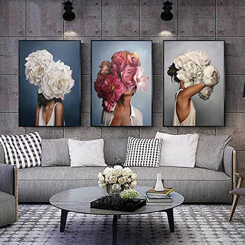 CNHNWJ Abstrakte Leinwandbild Blumen Federn Frau wandbilder Kunstdruck Poster Bild Dekor Modernes Wohnzimmer Schlafzimmer Zimmer Deko (50x70cmx3 / kein Rahmen)
