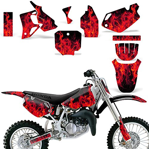 Wholesale Decals MX Dirt Bike Graphics kit Sticker Decal Compatible with Honda CR80 1996-2002 - Flames Red