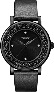 Timex TW2R93000 Women's Crystal Opulence with Swarovski Crystals 38mm Leather Strap Watch
