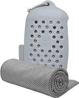 SKARI 冷感タオル 冷却タオル クールタオル 7色 速乾タオル 超吸水 軽量 スポーツタオル 熱中症対策 (グレー, 冷感タオル)