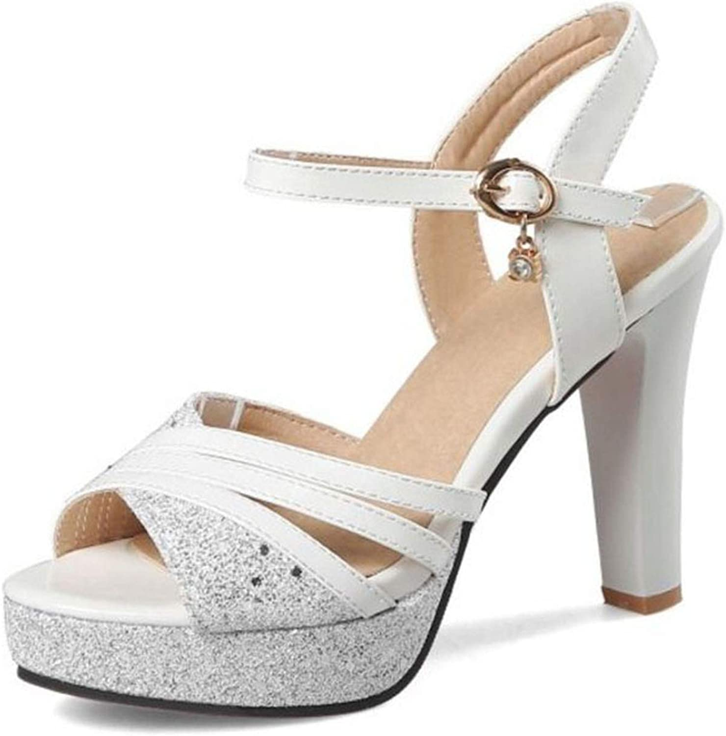 Fairly Sweet High Heels Female Thick Heel Paltform Crystal Buckle Summer shoes,White,8