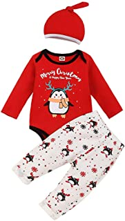 Girl Outfits Sets Newborn Infant Baby Christmas Romper Tops Cartoon Pants Hat 3Pcs