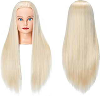 """Training Head 26""""-28"""" Long Hair Mannequin Training Head Dolls for Cosmetology Synthetic Fiber Hair Styling Hairdressing Manikin Head for Hairdresser with Clamp Stand (1711W61320)"""