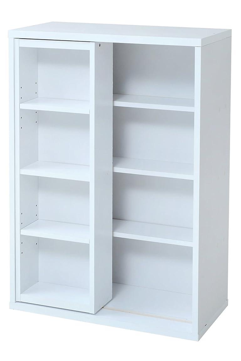 勝つ解説唯一JKプラン 6BOXシリーズ スライド本棚  スライド 式 大容量 収納 書棚 ラック 幅 60 cm ホワイト fr-049-wh