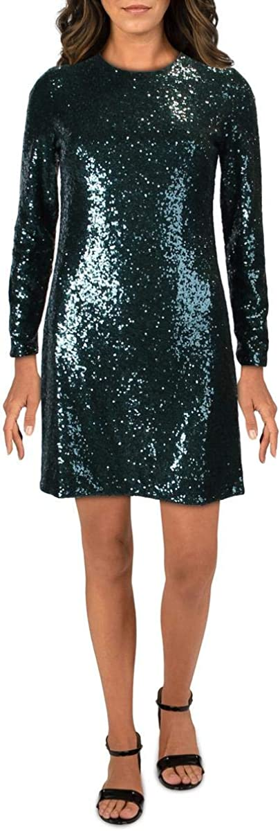 Vince Camuto Womens Sequined Cocktail Sheath Dress Green 2