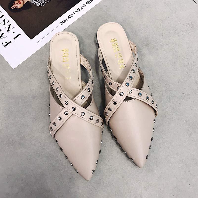 FMZXGスリッパ秋着用2018年秋Baotouハーフシューズフラット社会的な女性の靴ミューラーシューズファッショントレンド