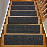 RugStylesOnline Stair Treads Collection Indoor Skid Slip Resistant Carpet Stair Tread Treads (Dark Grey, Set of 13 (8 in x 30 in))
