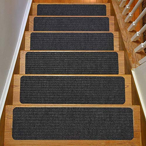 RugStylesOnline Stair Treads Collection Indoor Skid Slip Resistant Carpet Stair Tread Treads (Dark...