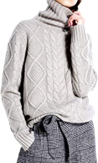 Cashmere Wool Sweater Women's Twist Thick Turtleneck Pullover Female Loose Knitted Jumper