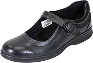 24 Hour Comfort Leann Women Wide Width Classic Contemporary Leather Mary Jane Comfort Shoes