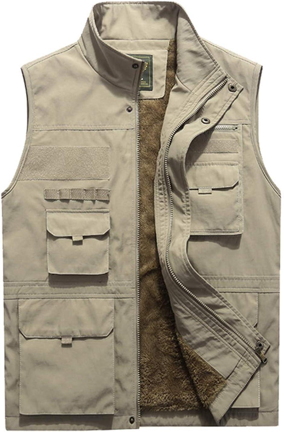 Gihuo Men's Winter Vest Jacket Stand Collar Fishing Travel Fleece Vest Outerwear
