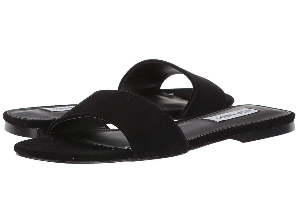 Steve Madden Bev Flat Sandal (Black Suede) Women