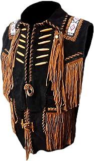 coolhides Men's Cowboy Fringes, Bones & Beads Suede Leather Stylish Vest