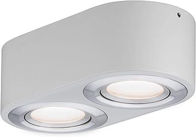 Paulmann 79709 Plafonnier LED Argun avec variateur d'intensité 2 x 4,8 W en aluminium brossé brossé 3000 K