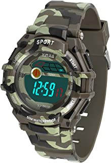 Kids Watch,Kids Camouflage Digital Watch 5ATM Waterproof Outdoor Sports Swimming Boys Watch with Alarm,Time,Date, Backlight, Stopwatch Multi Functions Children Watch