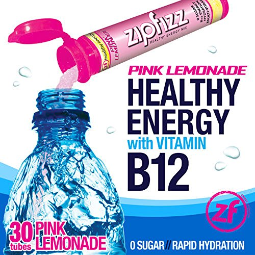 Zipfizz Pink Lemonade Healthy Energy Drink Mix - Transform Your Water Into a Healthy Energy Drink - 2 Boxes, 30 Tubes Each