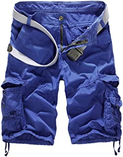 Men's Casual Plaid Cotton Cargo Shorts Patchwork with Pockets for Sports