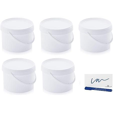 MARKESYSTEM - Seau Hermétique Pack de 5 x 4,4 litres - Conteneurs empilables en plastique avec couvercle - Récipient alimentaire, Catering Industriel, Liquides et Peintures + Kit étiqueté