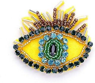 HUNANANA Strass Gelb Big Eye Broschen Für Frauen Mädchen Kristall Stoff Stickerei Brosche Schal Party Schnalle Zubehör
