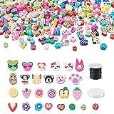 300 cuentas de arcilla polimérica, de Cheriswelry, varios corazones de flores, frutas, animales, espaciadores sueltos con hilo para abalorios para hacer pulseras de joyería