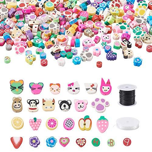 Cheriswelry 300 cuentas de arcilla polimérica surtidas, con diseño de corazón, flores, frutas, animales, espaciadores sueltos con hilo de abalorios para hacer pulseras y joyas