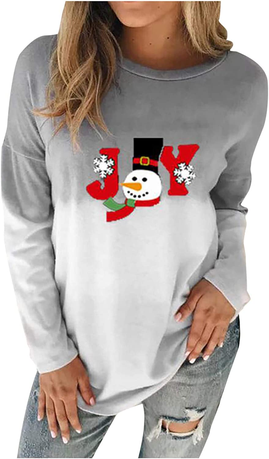 Christmas Long Sleeve SEAL limited product T sold out Shirts for Tie Gradient Women Dye Crewne