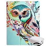 Morebee Owl Painting Fleece Throw Blanket Custom Design Lightweight Blanket for Sofa Bed 45'x 60'