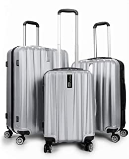Deco Gear Platinum Voyager Series - 3 Piece Hardside Spinner Luggage Set (Silver)(20
