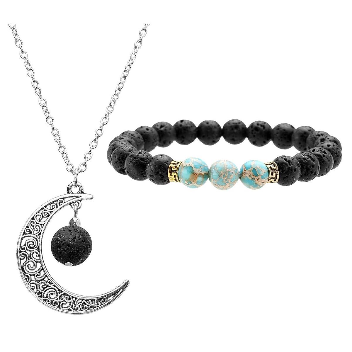 防水年齢カールJOVIVI Lava Stone Aromatherapy Essential Oil Diffuser Necklace Bracelet Set- Crescent Moon Jewellery