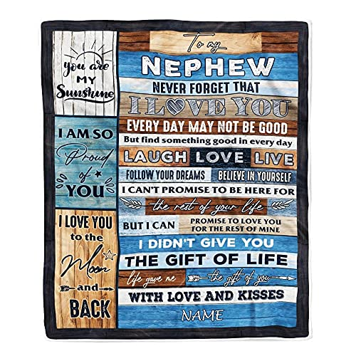 CenturyTee Personalized to My Nephew Blanket from Aunt Auntie Uncle I Love You Wood Nephew Birthday Christmas Thanksgiving Graduation Customized Fleece Blanket (30 x 40 Inches - Baby Size)