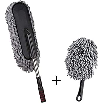Tony Stark combo of Flexible Car Duster Wash Brush, Mini interior car duster Dry/Wet Car, Home, Kitchen, Office Cleaning Brush with Expandable Handle, (Grey+Mini)