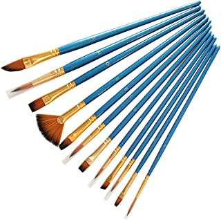 Aolvo 10Pieces Round Pointed Tip Nylon Hair Brush Set with 2 Piece Paint Tray Palette Acrylic Paint Brushes Set Paintbrush Sets