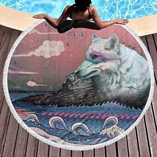 Toalla De Playa Redonda Lobo Solitario Lobo Marino Pez Océano Manta Circular Gruesa para Nadar para Viajes Al Aire Libre,Estera De Picnic para Yoga,Mantel De Tapiz con Flecos De Borla,Suave